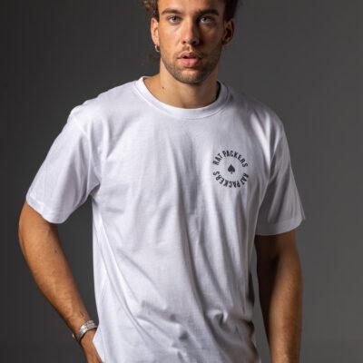 Camiseta Blanca Pica Rat Packers Negra