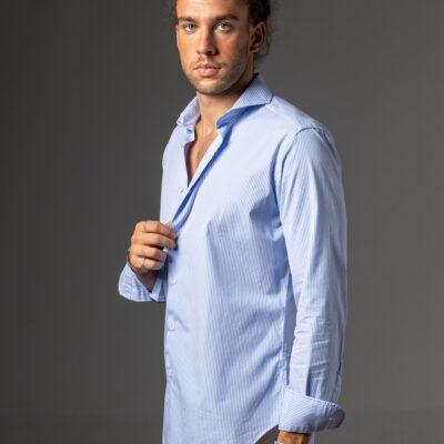 Camisa Extreme Easy Iron Celeste Blanca