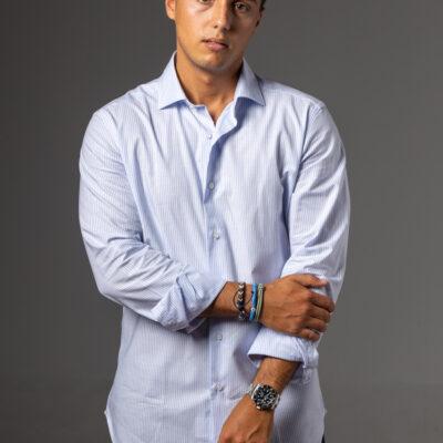 Camisa Cutaway Raya Celeste Blanca